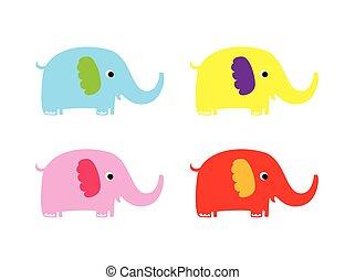 lindo, vector, elefante