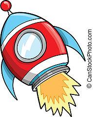 lindo, vector, exterior, cohete, espacio