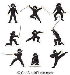 lindo, vector, illustration., ninjas, aislado, patear, ...