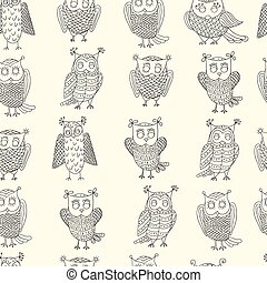 lindo, vector, owls., caricatura, pattern.