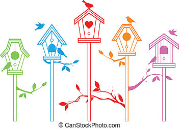 lindo, vector, pájaro, casas