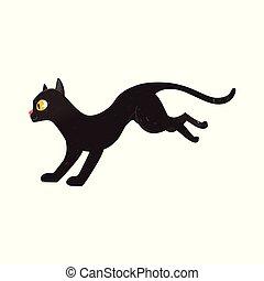 lindo, velloso, gato, negro, retrato, corriente, vista ...