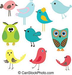 lindo, vendimia, set., ilustración, vector, aves