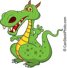 lindo, verde, caricatura, dragón