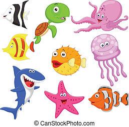 lindo, vida, mar, caricatura, colección