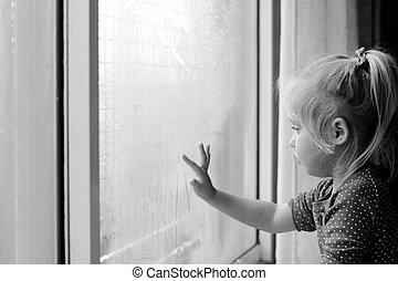 lindo, viejo, años, mirar, ventana, por, 4, niña