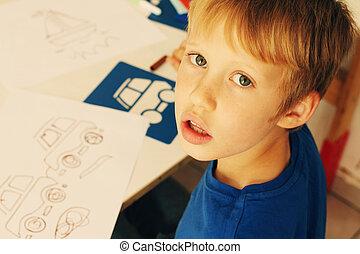 lindo, viejo, niño, años, 6, dibujo