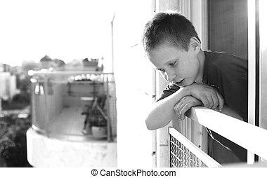 lindo, viejo, niño, años, autictic, 9, retrato