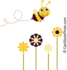 lindo, vuelo, abeja, con, flores, aislado, blanco