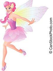 lindo, vuelo, hada, en, flor rosa, vestido, con, mariposa, alas