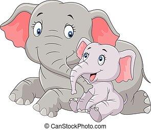 lindo, y, elefante, madre, bebé, caricatura
