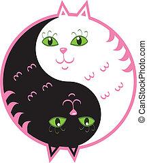 lindo, yin, gatos, yang