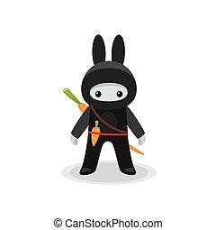 lindo, zanahoria, conejito, ninja