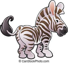 lindo, zebra, vector, ilustración
