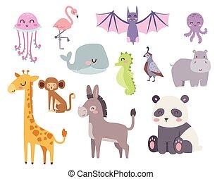 lindo, zoo, caricatura, animales, aislado, divertido, fauna,...
