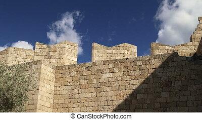 Lindos Acropolis on Rhodos Ancient Archeological site,...