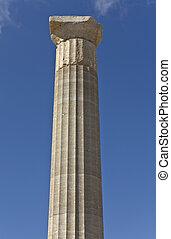 lindos, sloupec, rhodes, dórský, acropolis, řečtina