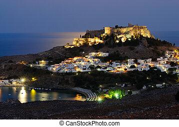 lindos, tiro, isla, town., rodas, grecia, noche