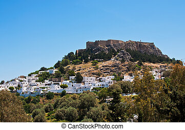 Lindos town on the Island of Rhodes Greece Europe