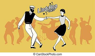 lindy, スタイル, ダンス, 恋人, 若い, 情報通, ホツプ, パーティー。, 漫画, swing.