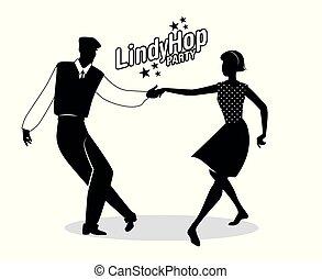 lindy, スタイル, ダンス, 恋人, 若い, silohouettes, 情報通, ホツプ, パーティー。, 漫画, swing.