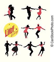 lindy, &, ダンス, 人々, 若い, ホツプ, 変動, パーティー。, ∥あるいは∥