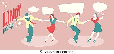 lindy, ダンス, &, 若い, 2組のカップル, ホツプ, 変動, パーティー。, ∥あるいは∥