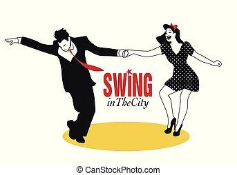 lindy, ballo, coppia, giovane, luppolo, altalena, o