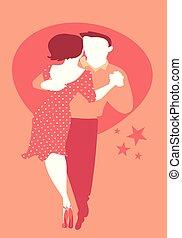 lindy, ballo, coppia, giovane, luppolo, roccia, altalena, o