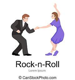 lindy, donna ballando, coppia, roccia, giovane, o, formazione, luppolo, altalena, rotolo, uomo