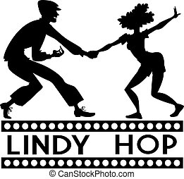Black vector silhouette of a couple dancing swing or lindy hop, EPS 8