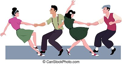 Two young couple dressed in 1940s fashion dancing lindy hop or swing in a formation, vector illustration, isolated on white, no transparencies, EPS 8