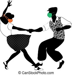 Lindy hop dancers in face masks
