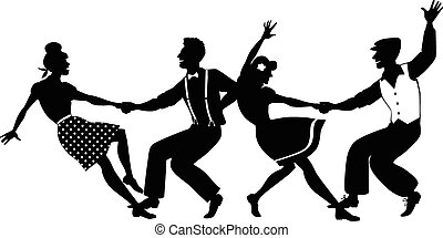 Vector silhouette of two young couple dressed in 1940s fashion dancing lindy hop or swing in a formation, no white objects, EPS 8