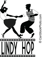 Lindy hop silhouette - Black vector silhouette of a couple...