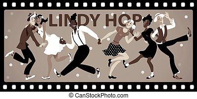 Lindy Hop Vintage banner - People dressed in vintage fashion...