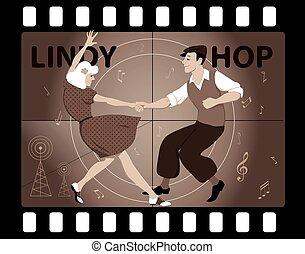 lindy, hoppers, dançar