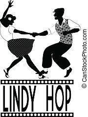 lindy, silueta, salto