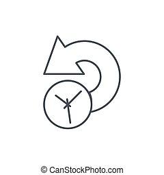 lineáris, jelkép, történelem, múlt, vektor, híg, idő megtölt, icon.