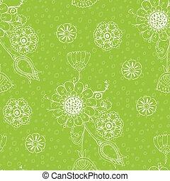 lineáris, motívum, seamless, tervezés, virágos, zöld