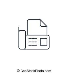 lineární, úřad, znak, fax, telefonovat, vektor, hubený, telefon, digitální, řádka, dokumentovat, icon.