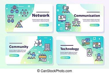 lineære, teamwork, beslægtet, sæt, concept., vektor, icons., kommunikation