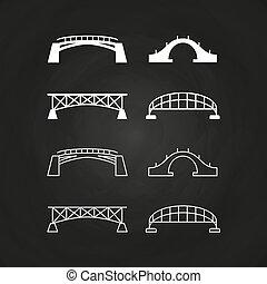 Line and outline bridges design on chalkboard
