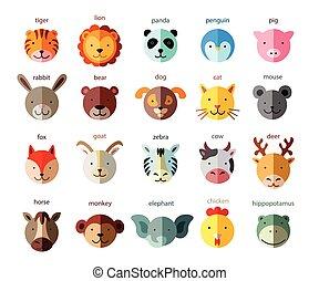 Line Animal Head Icon Set. Vector Illustration.