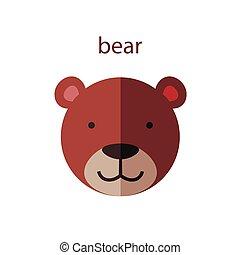 Line Animal Head Icon Set. Vector Illustration.Bear