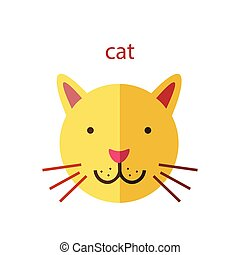 Line Animal Head Icon Set. Vector Illustration.Cat