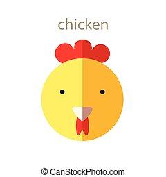 Line Animal Head Icon Set. Vector Illustration.Chicken