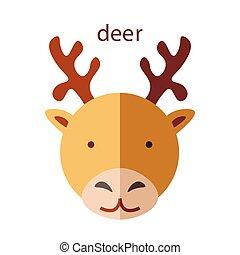 Line Animal Head Icon Set. Vector Illustration.Deer