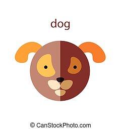 Line Animal Head Icon Set. Vector Illustration.Dog