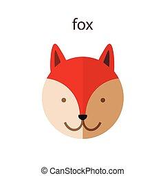 Line Animal Head Icon Set. Vector Illustration.Fox